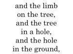 and the limb on the tree and the tree in a hole and the hole in the ground