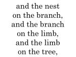 and the nest on the branch and the branch on the limb and the limb on the tree