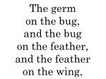 the germ on the bug and the bug on the feather and the feather on the wing