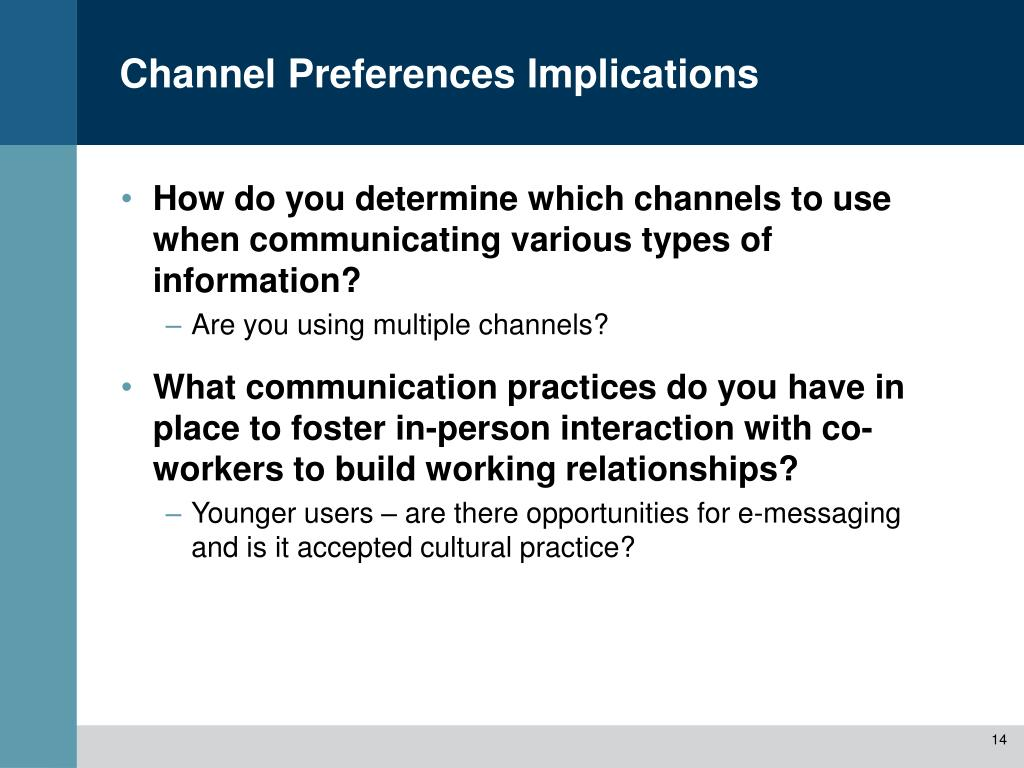 Channel Preferences Implications