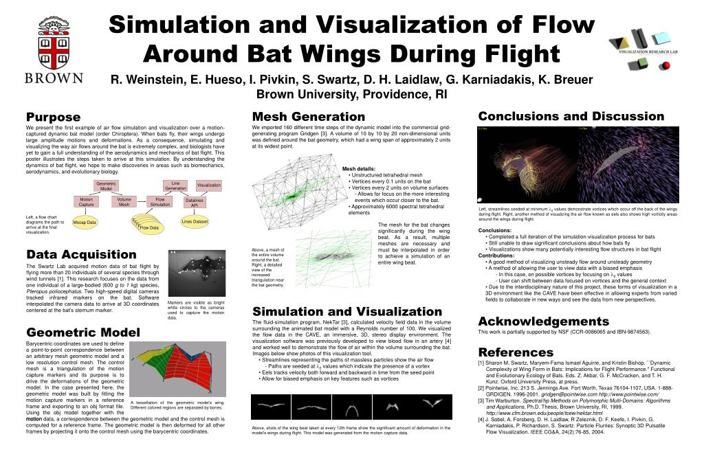 simulation and visualization of flow around bat wings during flight l.