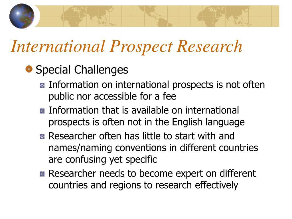 International Prospect Research