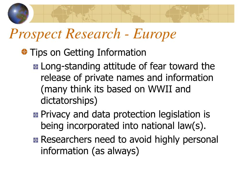 Prospect Research - Europe