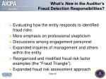 what s new in the auditor s fraud detection responsibilities