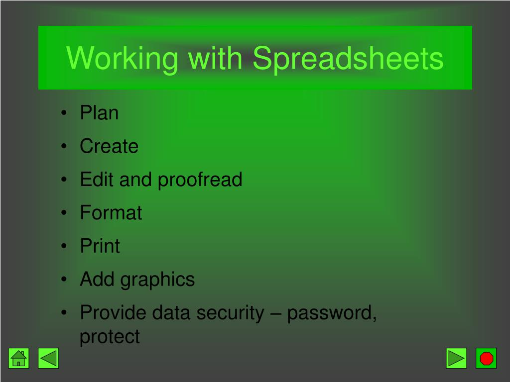 Working with Spreadsheets