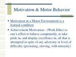 motivation motor behavior