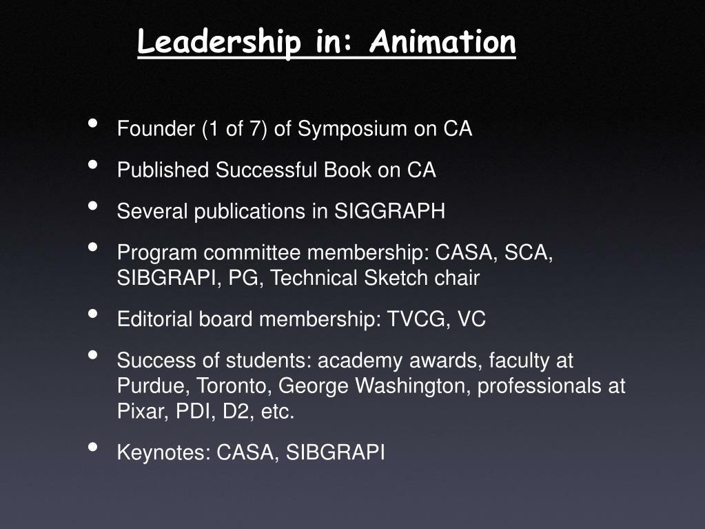 Leadership in: Animation