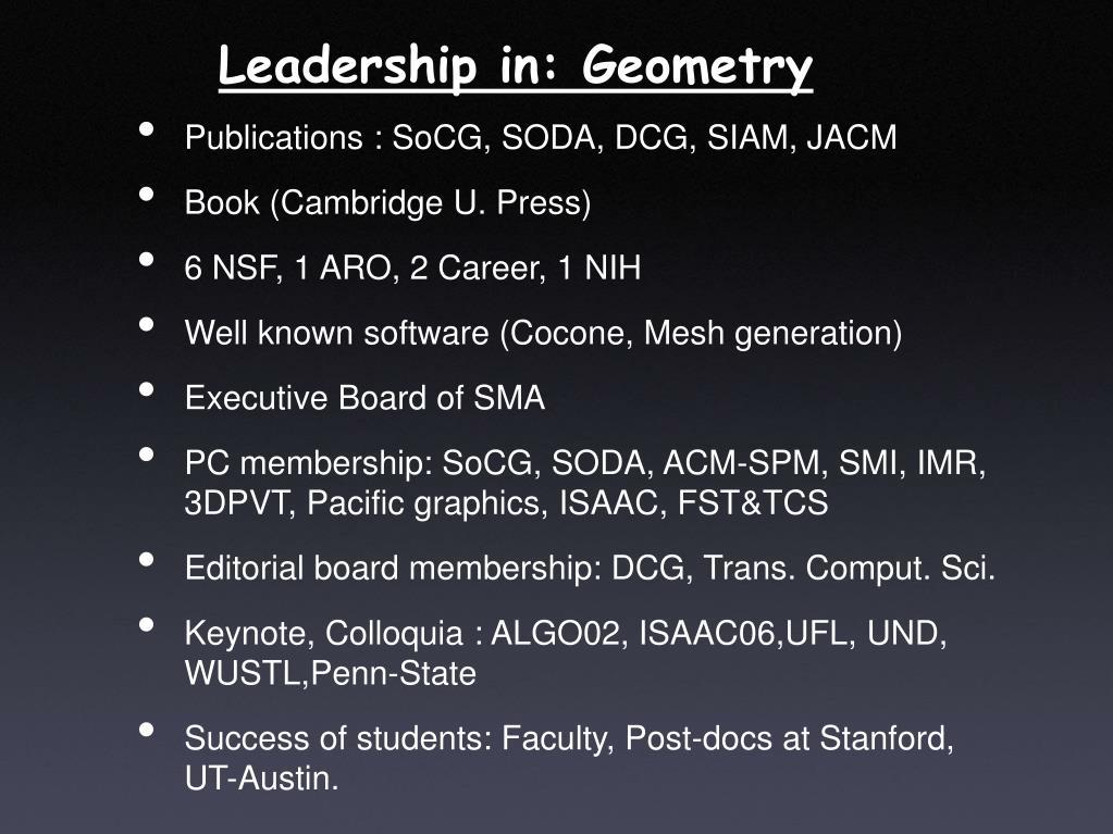 Leadership in: Geometry