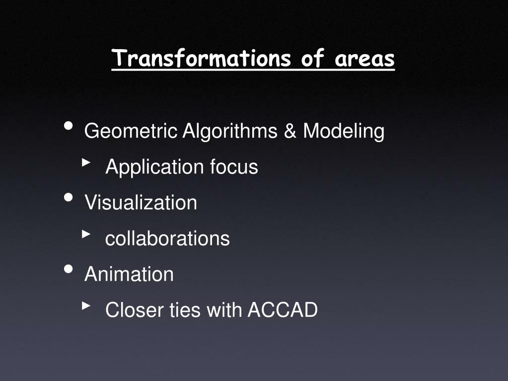 Transformations of areas