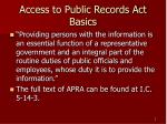 access to public records act basics