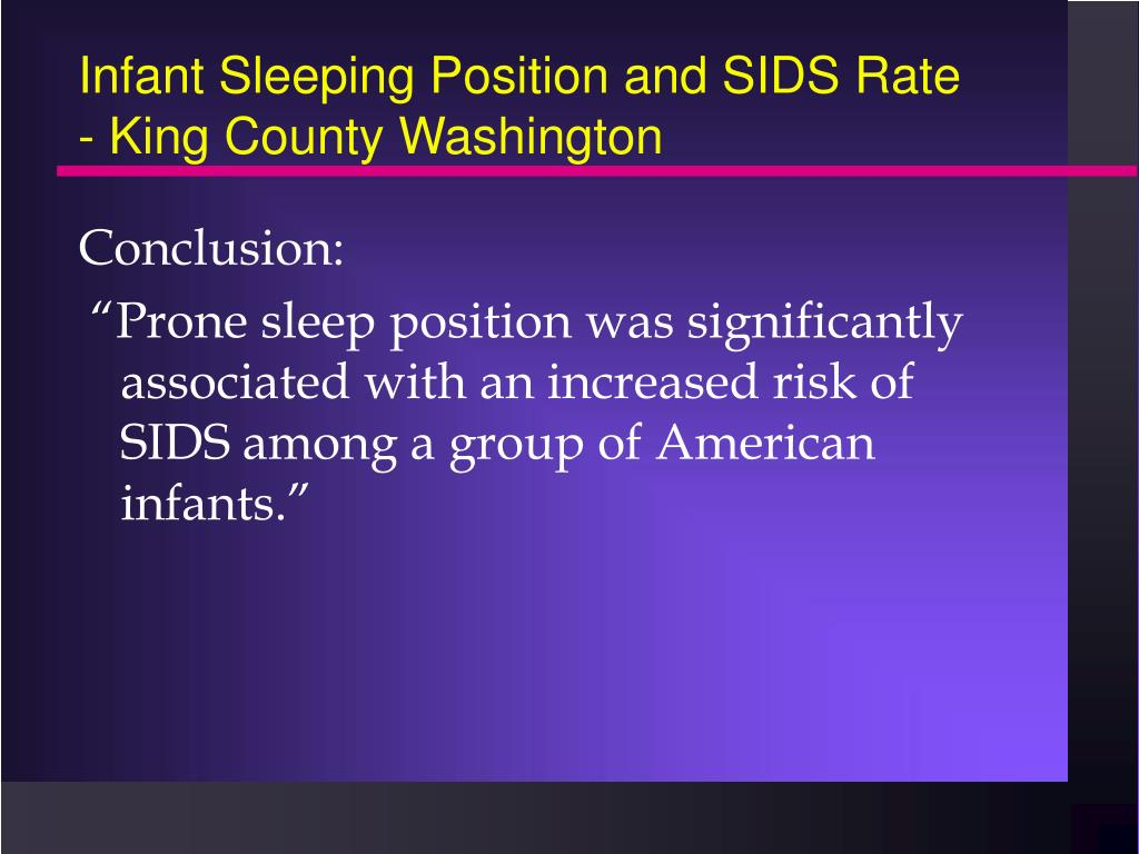 Infant Sleeping Position and SIDS Rate