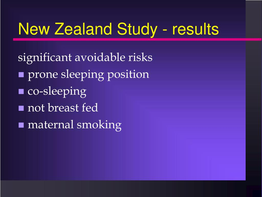 New Zealand Study - results