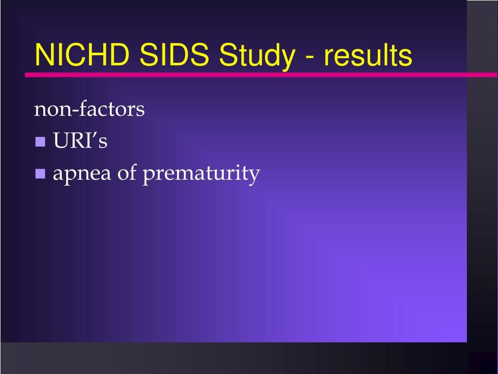 NICHD SIDS Study - results