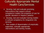 culturally appropriate mental health care services