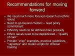 recommendations for moving forward