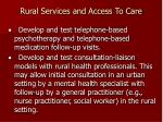 rural services and access to care
