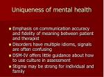 uniqueness of mental health