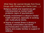 what have we learned already from focus groups with clinicians and clients cont