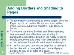 adding borders and shading to pages