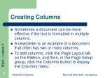 creating columns