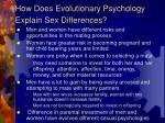 how does evolutionary psychology explain sex differences