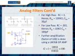 analog filters cont d