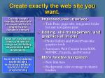 create exactly the web site you want
