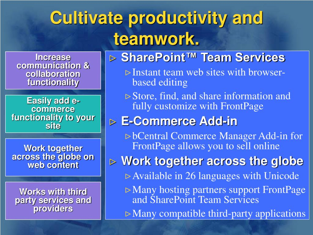 Cultivate productivity and teamwork.