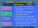 cultivate productivity and teamwork