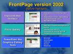 frontpage version 2002 feature highlights
