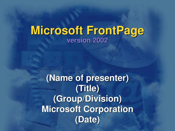 Microsoft frontpage version 2002