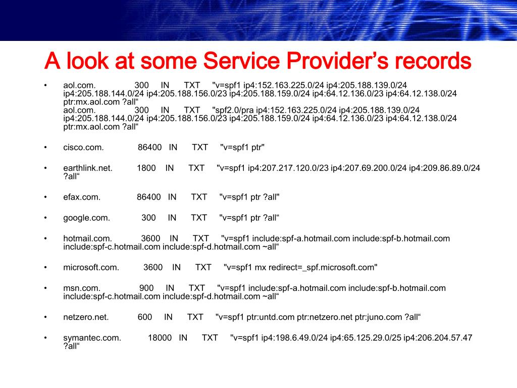 A look at some Service Provider's records