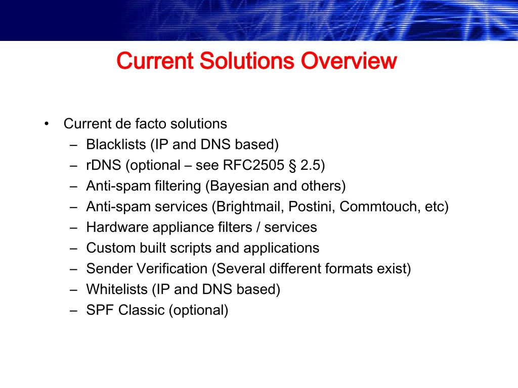 Current Solutions Overview