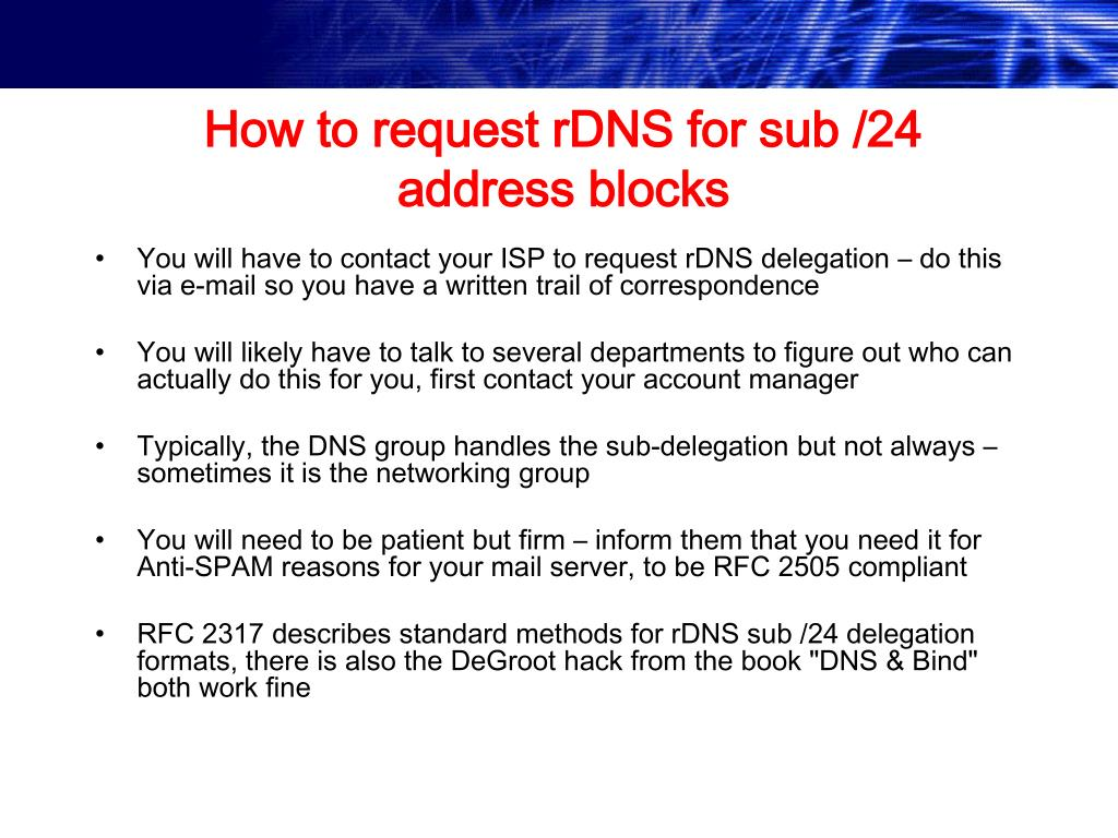 How to request rDNS for sub /24 address blocks