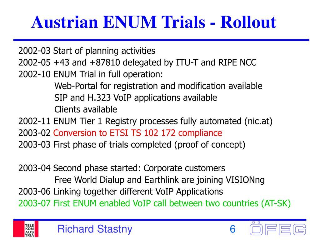 Austrian ENUM Trials - Rollout