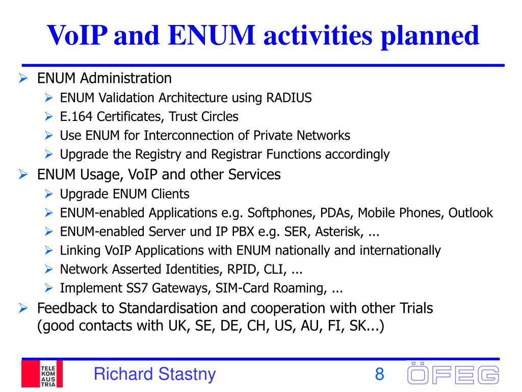 VoIP and ENUM activities planned