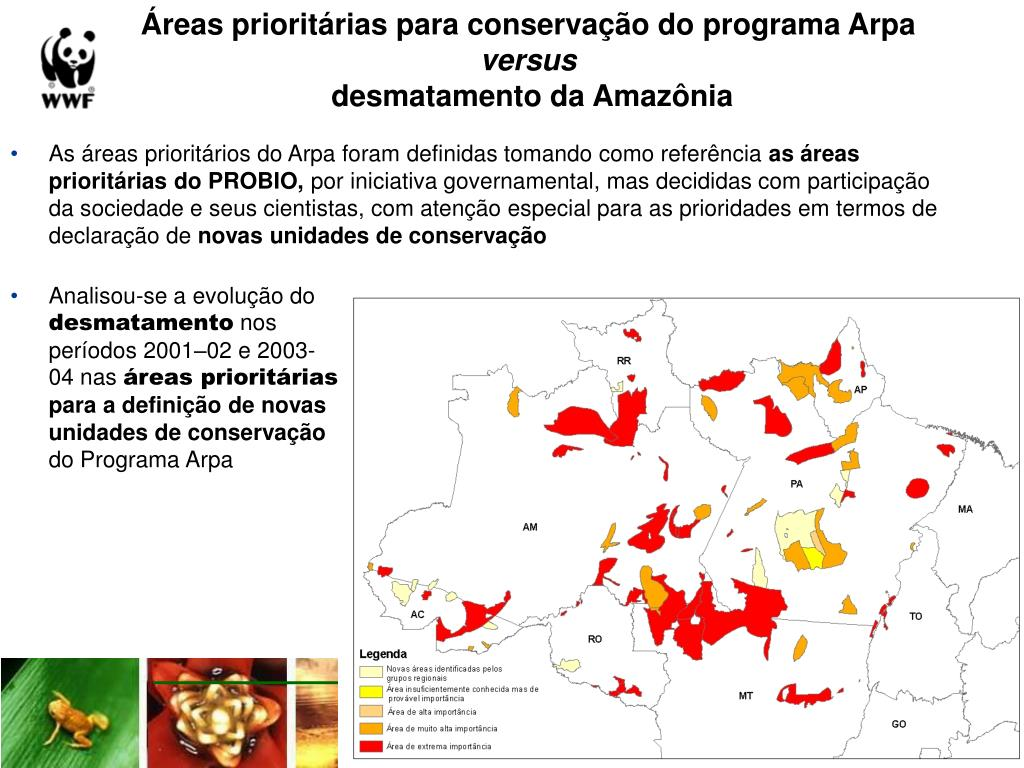 Áreas prioritárias para conservação do programa Arpa
