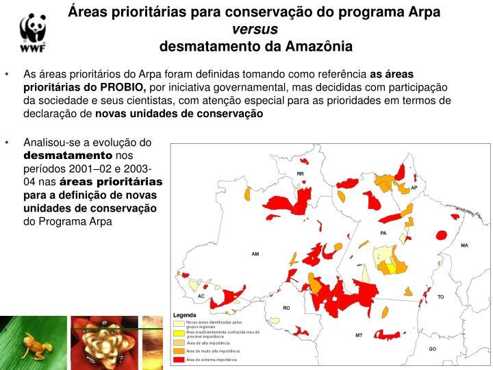 Reas priorit rias para conserva o do programa arpa versus desmatamento da amaz nia