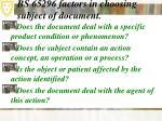 bs 65296 factors in choosing subject of document