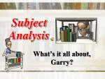 subject analysis