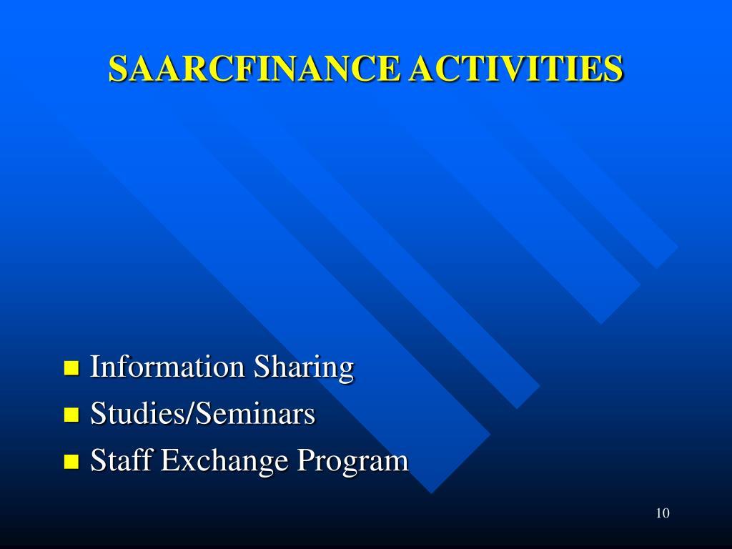SAARCFINANCE ACTIVITIES