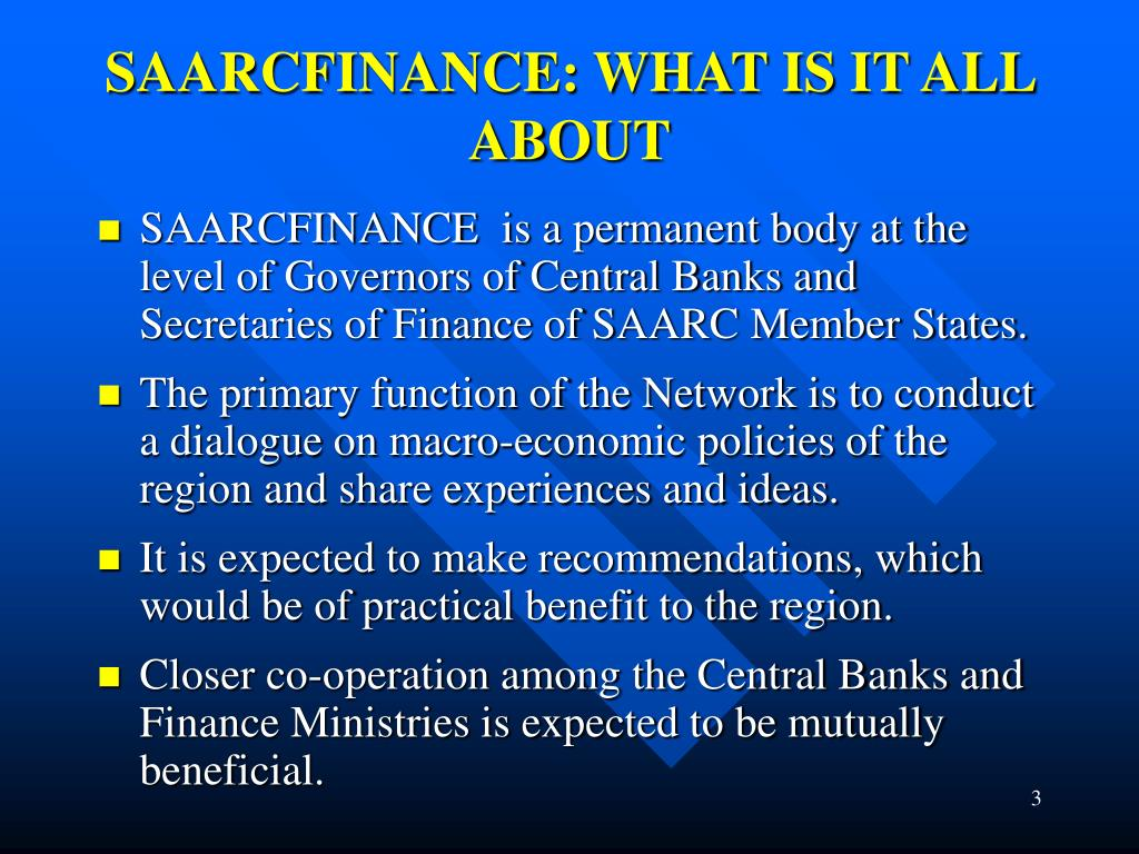 SAARCFINANCE: WHAT IS IT ALL ABOUT
