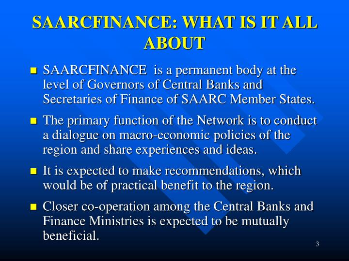 Saarcfinance what is it all about