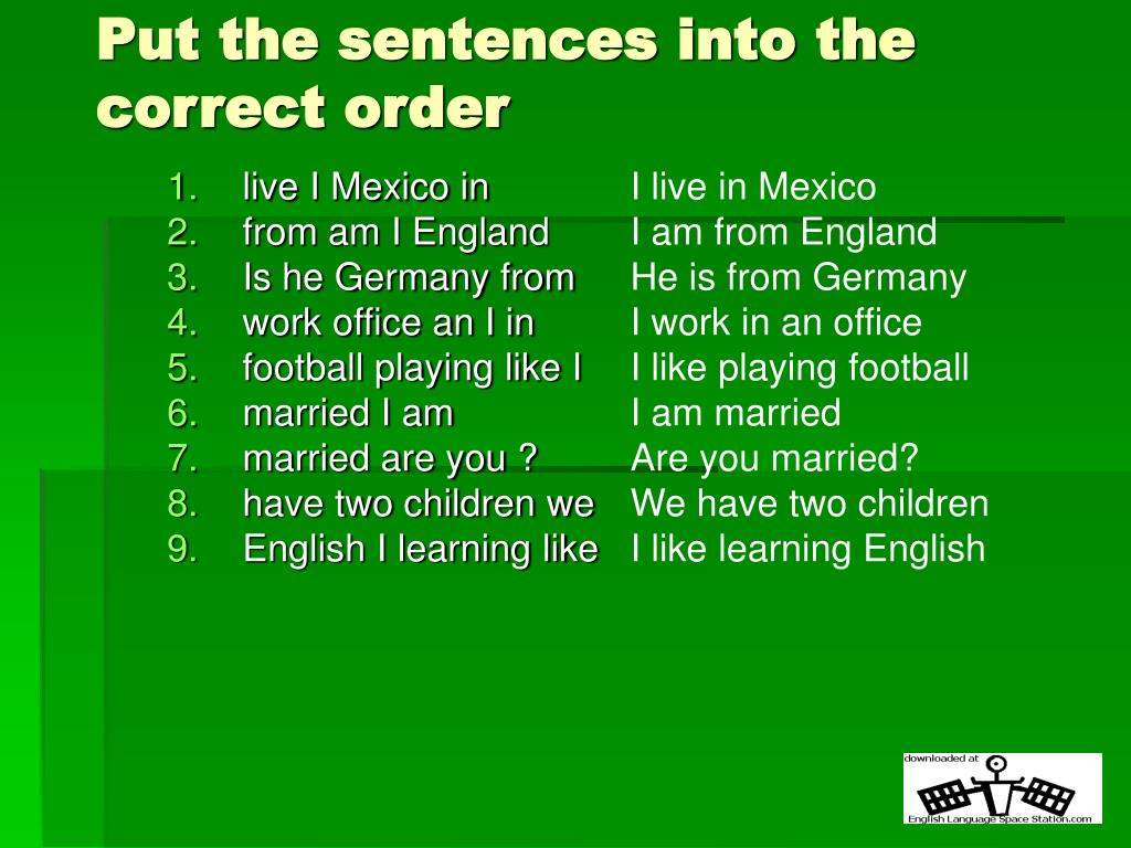 put the sentences into the correct order l.