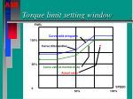 torque limit setting window