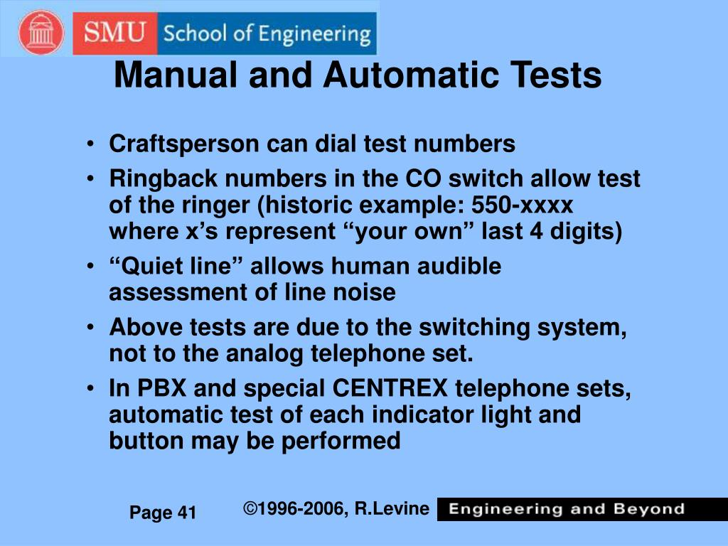 Manual and Automatic Tests