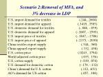 scenario 2 removal of mfa and 3 decrease in ldp
