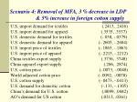 scenario 4 removal of mfa 3 decrease in ldp 5 increase in foreign cotton supply