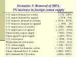 scenarios 3 removal of mfa 5 increase in foreign cotton supply