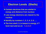 electron levels shells